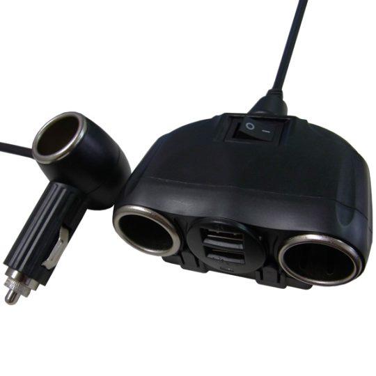 USB搭載車載用2連+1シガーソケット